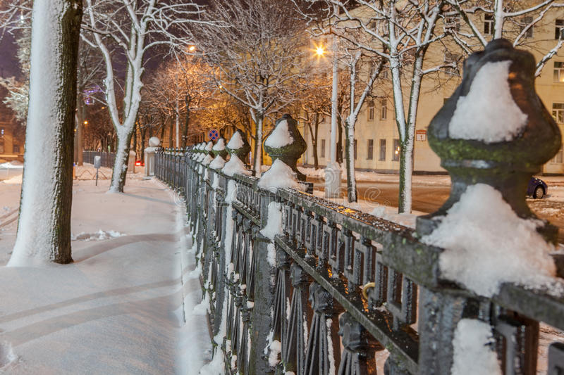 Download Winter in the night city stock photo. Image of shooting - 83712726