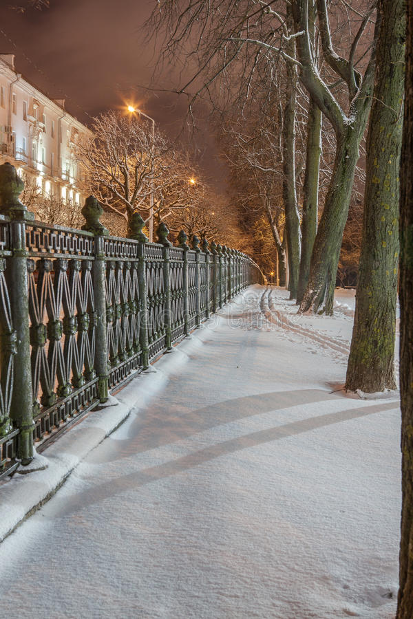 Download Winter in the night city stock image. Image of snowstorm - 83712793