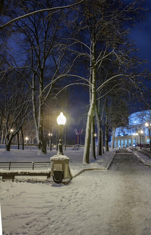 Download Winter In The Night City Editorial Stock Photo - Image: 83712938