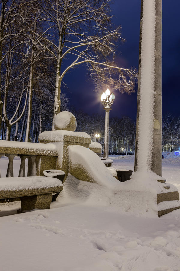 Download Winter in the night city stock photo. Image of lights - 83713142