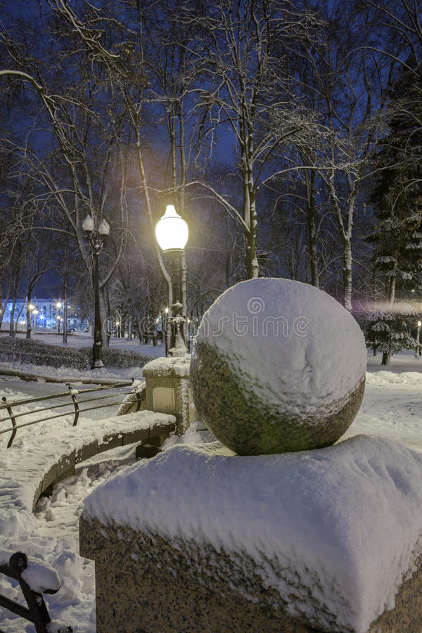 Download Winter in the night city stock image. Image of urban - 83713197