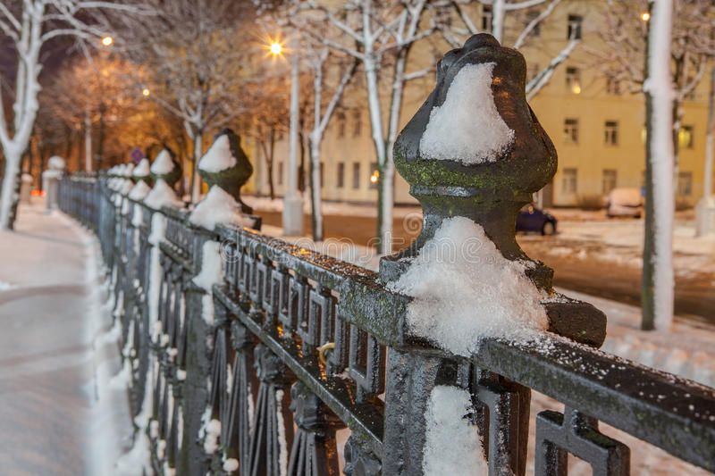 Download Winter In The Night City Stock Photo - Image: 83713218