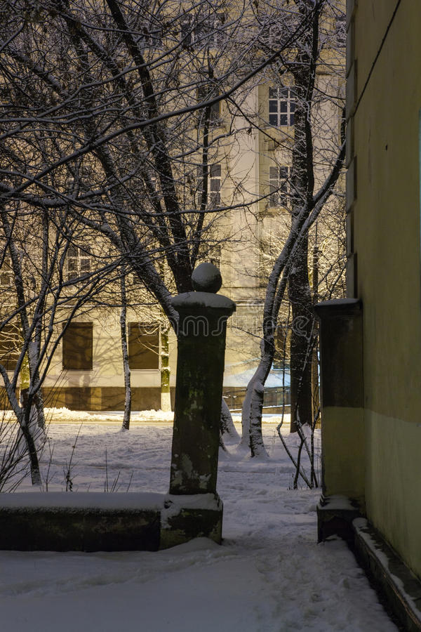 Download Winter In The Night City Stock Photo - Image: 83713325