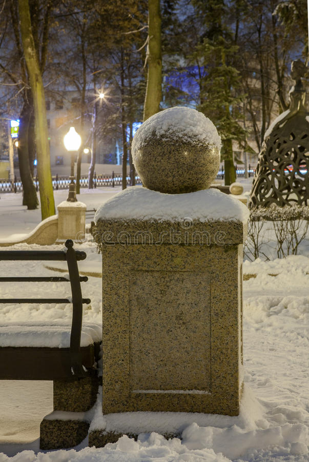 Download Winter in the night city stock photo. Image of snowstorm - 83713384