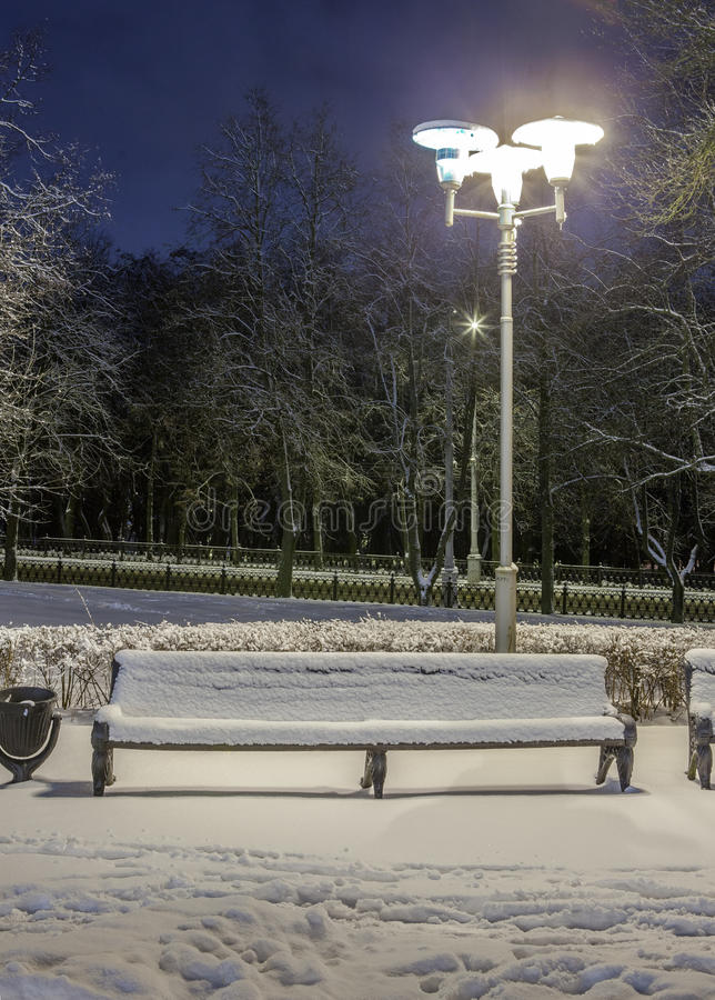 Download Winter in the night city stock image. Image of snow, frost - 83713763