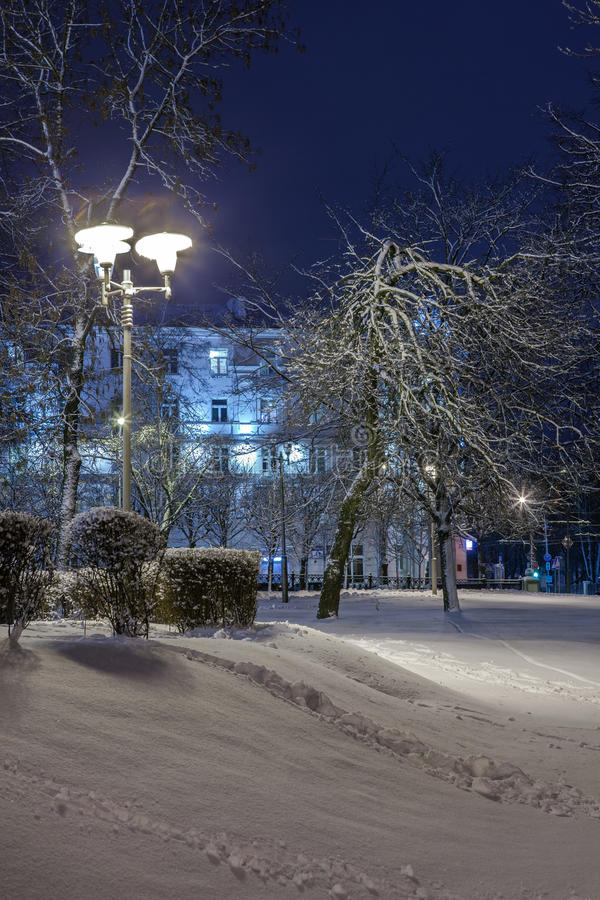 Download Winter In The Night City Stock Photo - Image: 83713810