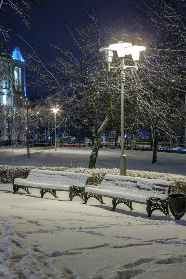 Download Winter In The Night City Stock Photo - Image: 83713842