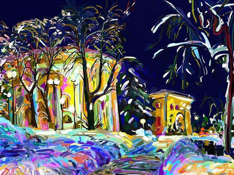Winter night cityscape digital painting. Art composition stock illustration