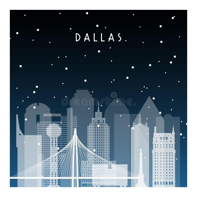 Winter night in Dallas. vector illustration
