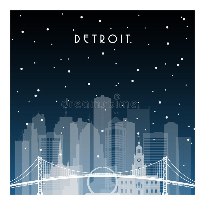Winter night in Detroit. royalty free illustration