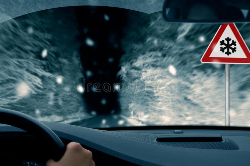 Download Winter Night Driving - Snowfall On A Country Road Stock Photo - Image of night, forest: 35761764