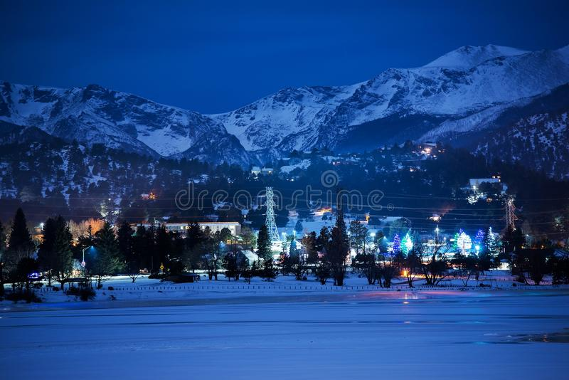 Download Winter Night in Estes Park stock image. Image of lake - 48913329
