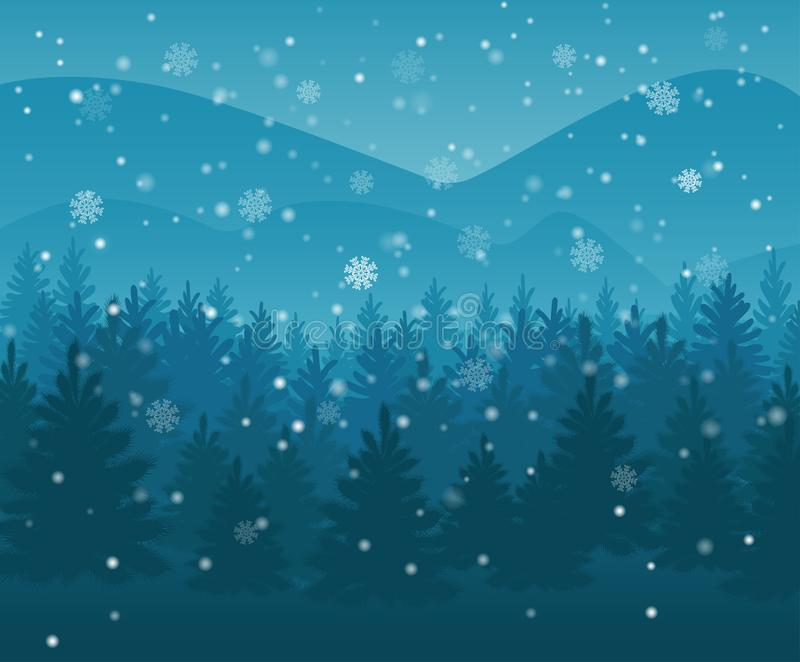 Winter night forest. falling snow in the air. christmas theme. new year weather. background. Eps10 royalty free illustration