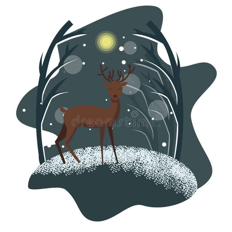 Winter night illustration with deer. Vector winter holiday flat illustration with winter snow background and deer character in front, standing and looking in the royalty free illustration