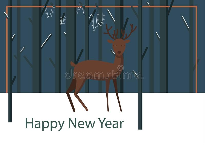 Winter night illustration with deer. Vector winter holiday flat illustration with winter snow background and deer character in front, standing and looking in the vector illustration