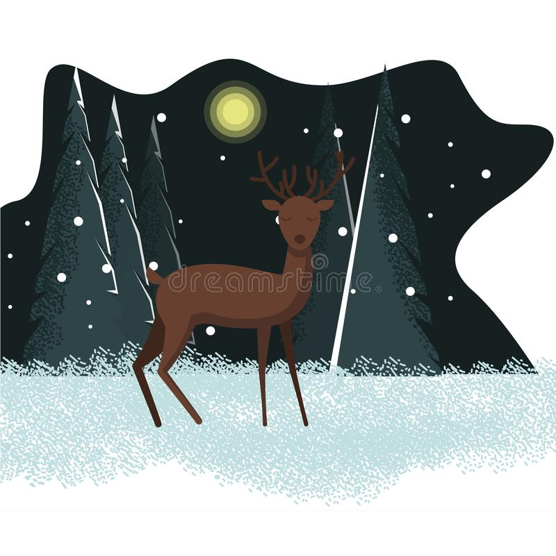 Winter night illustration with deer. Vector winter holiday flat illustration with winter snow background and deer character in front, standing and looking in the stock illustration