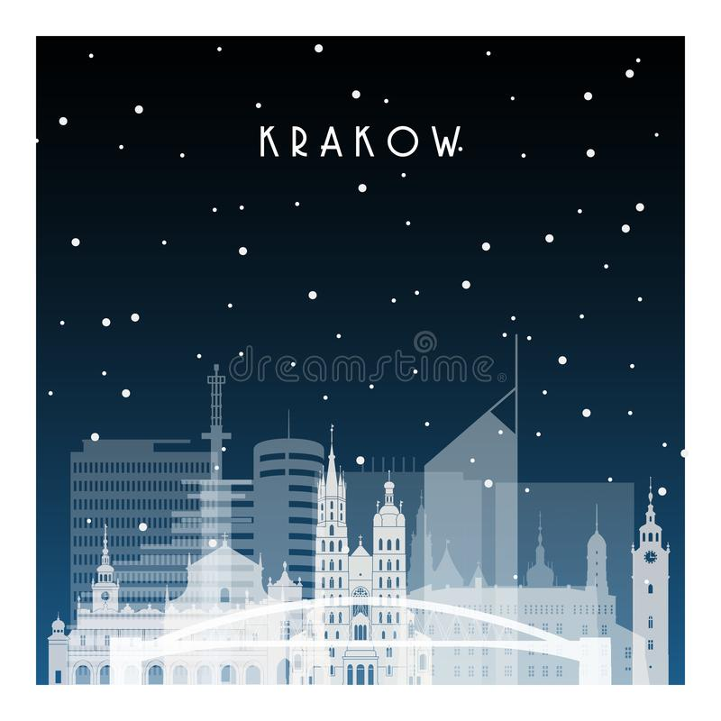 Winter night in Krakow. Night city in flat style for banner, poster, illustration, background royalty free illustration