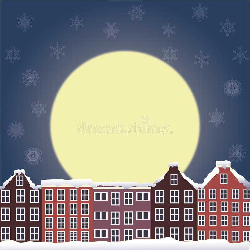 Download Winter night landscape stock vector. Image of residential - 22406373