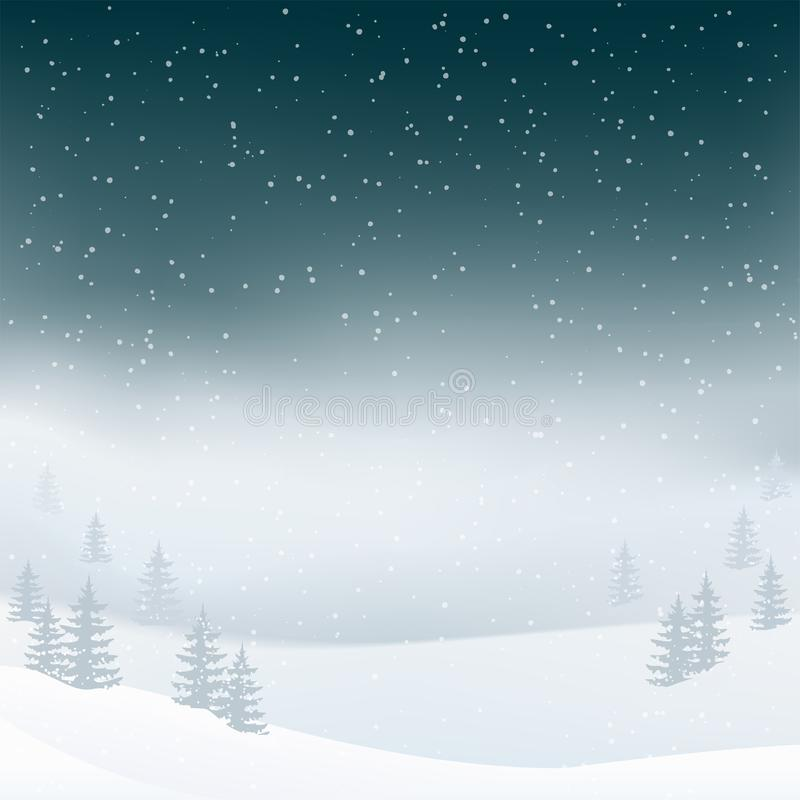 Winter night landscape background with snowfall in the fog. Christmas tree, fir forest with mist. stock illustration