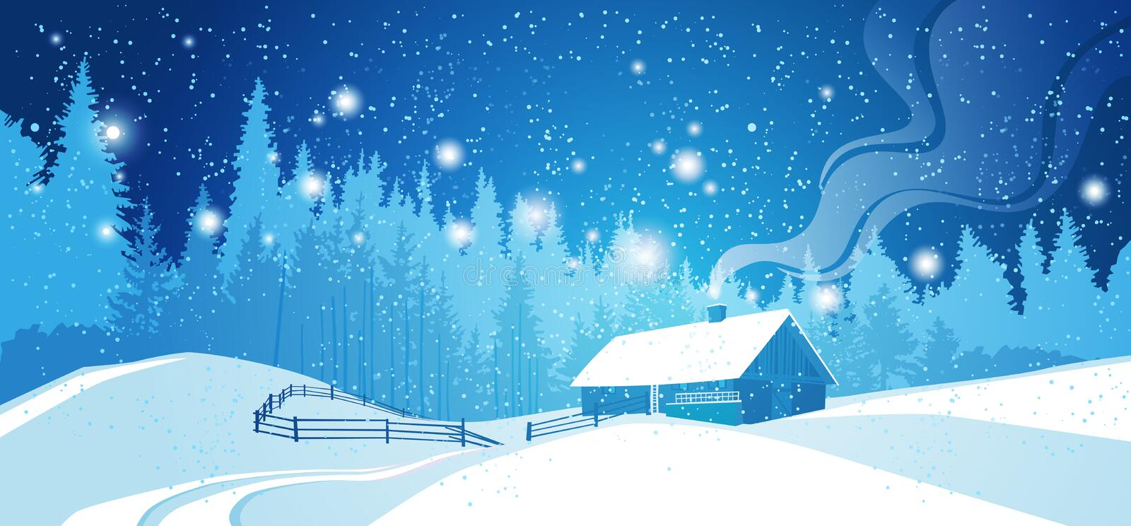 Winter Night Landscape Countryside Snowy House With Pine Tree Forest Over Blue Sky With Stars royalty free illustration