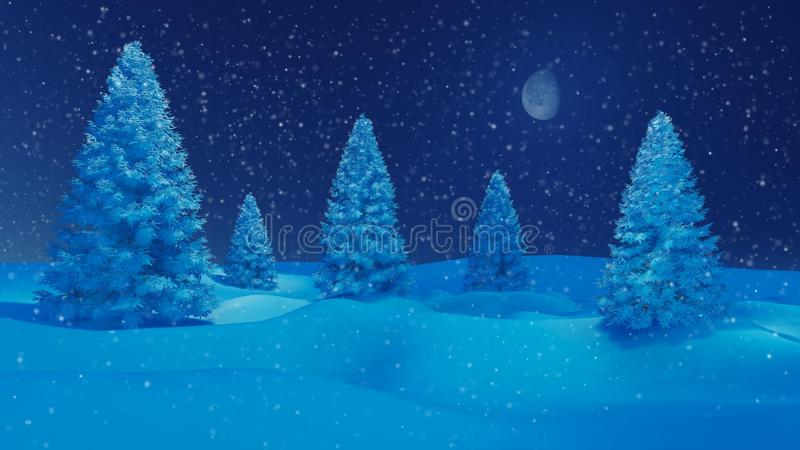 Winter night landscape with firs and half moon vector illustration