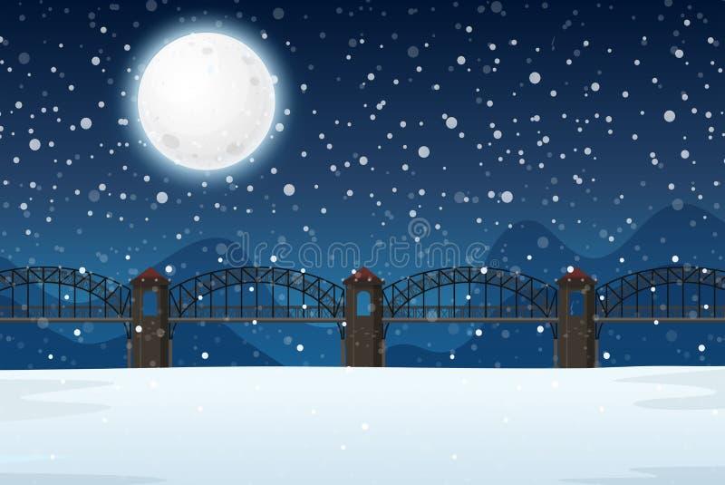 A winter night landscape. Illustration vector illustration