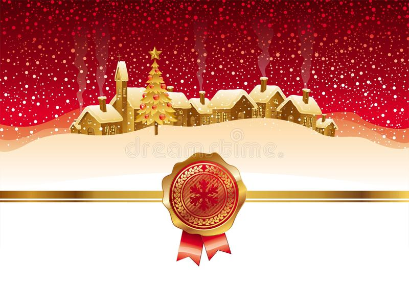 Winter night landscape and town vector illustration