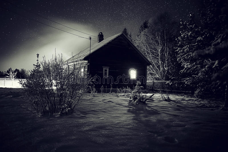 Winter night landscape village royalty free stock photography