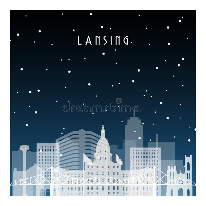 Winter night in Lansing. Night city in flat style for banner, poster, illustration, background stock illustration