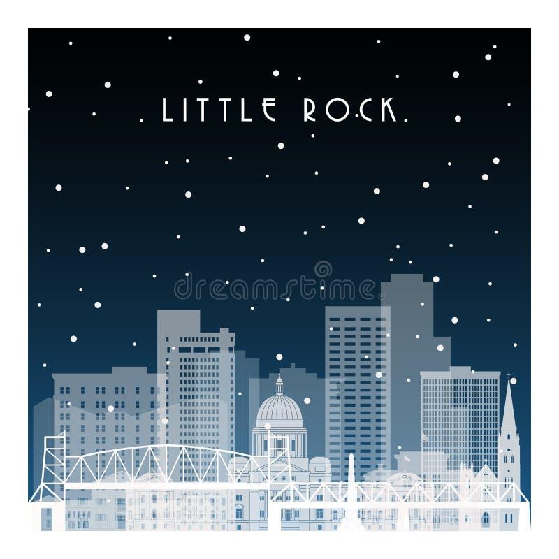 Winter night in Little Rock. stock illustration