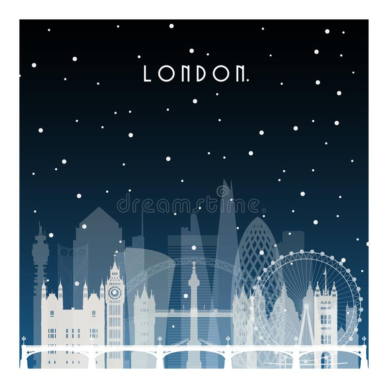 Winter night in London. vector illustration