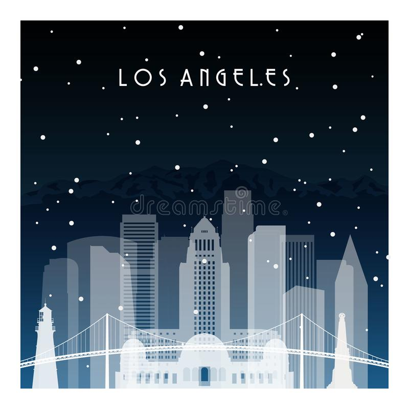 Winter night in Los Angeles. Night city in flat style for banner, poster, illustration, background stock illustration