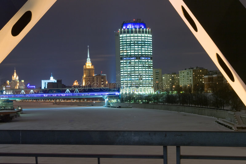 Winter night at Moscow stock photo