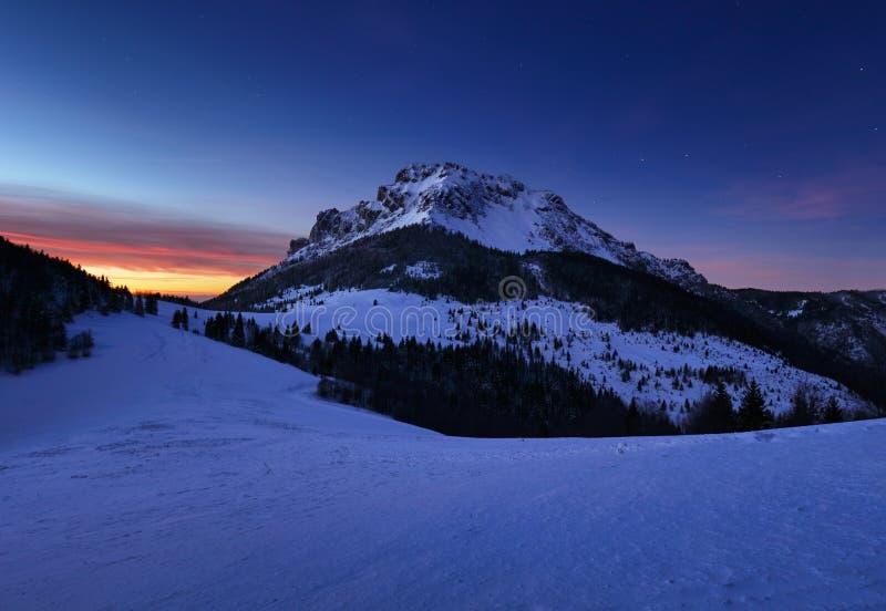 Winter at night in mountain peak, Slovakia stock photos