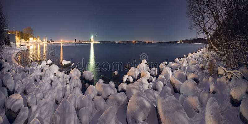 Winter night on the ocean royalty free stock photography