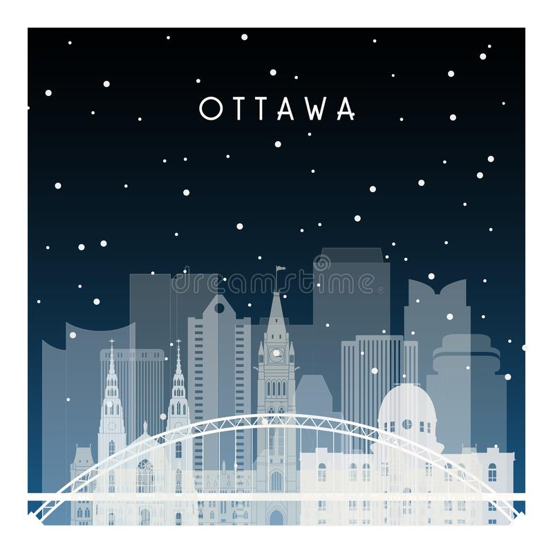 Winter night in Ottawa. Night city in flat style for banner, poster, illustration, background stock illustration