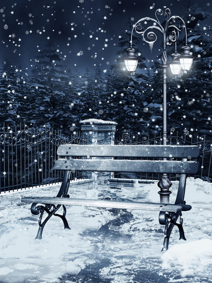 Winter night in a park royalty free illustration