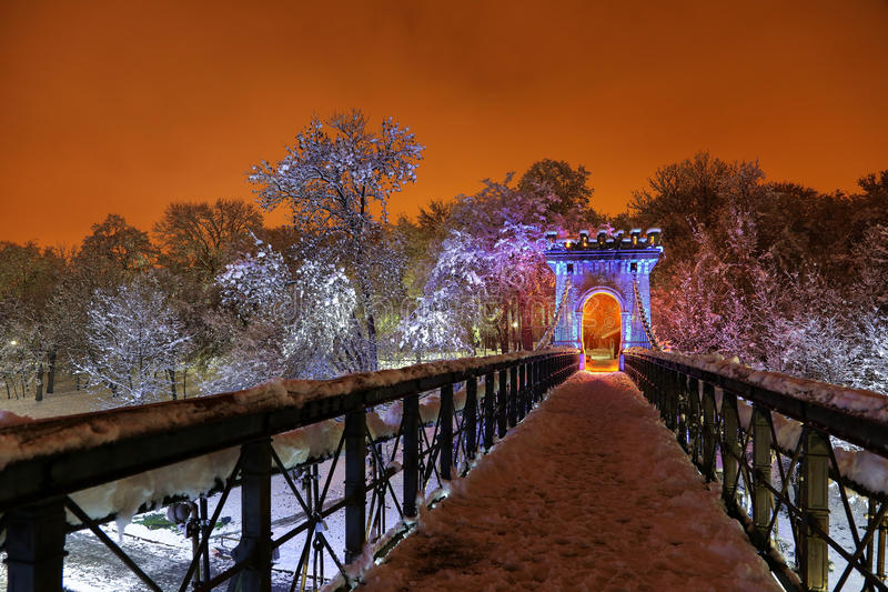 Winter night in the park. Winter night landscape in the park stock photos