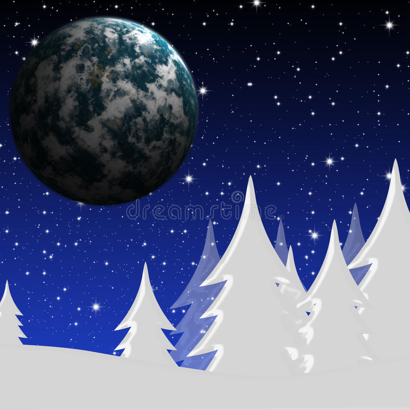 Winter night and planet royalty free illustration