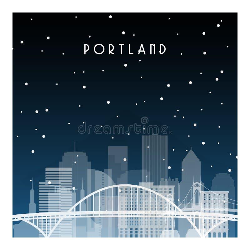 Winter night in Portland. vector illustration