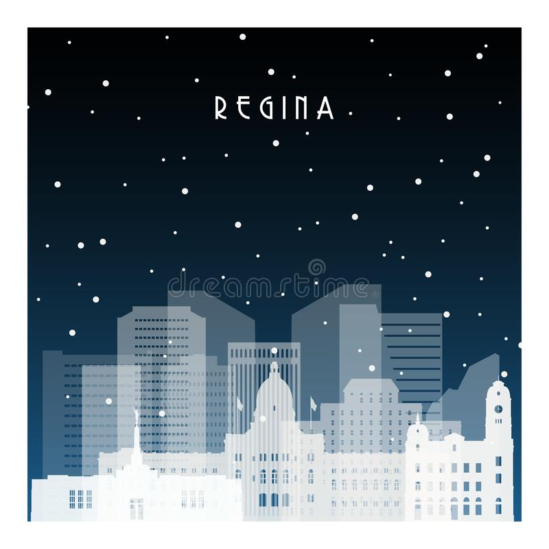 Winter night in Regina. Night city in flat style for banner, poster, illustration, background stock illustration