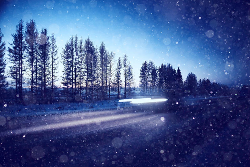 Winter night road. With snow background stock images