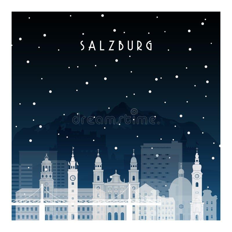 Winter night in Salzburg. vector illustration