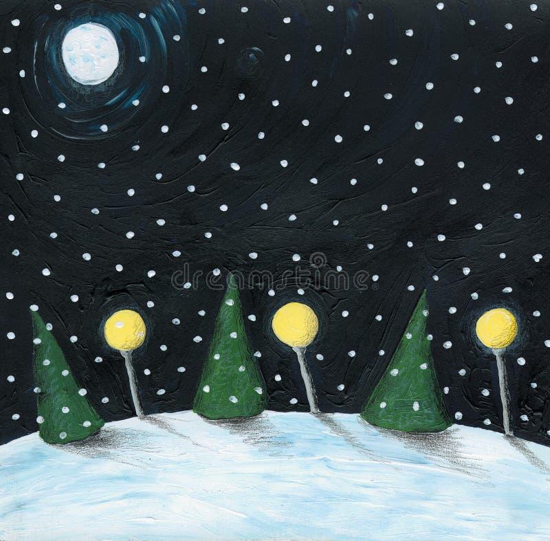 Winter night scene. Acrylic illustration of Winter night scene royalty free illustration