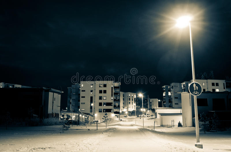 Download Winter night scene stock image. Image of cottage, moment - 17560631