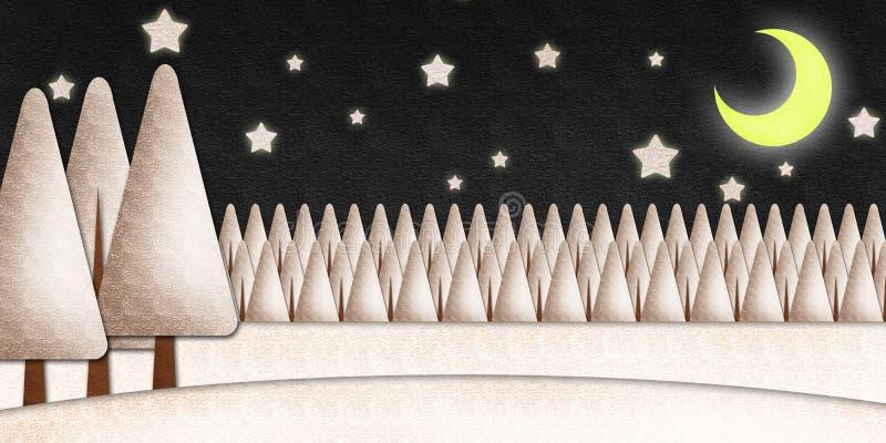 Download Winter Night Scene Watercolor On Paper Stock Illustration - Illustration: 21719490