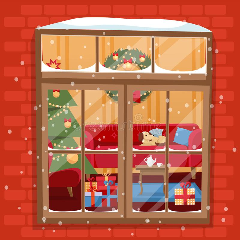 Winter night scene of window with Christmas tree, furnuture, wreath, pile of gifts and pets. Cozy festively decorated room outside royalty free illustration
