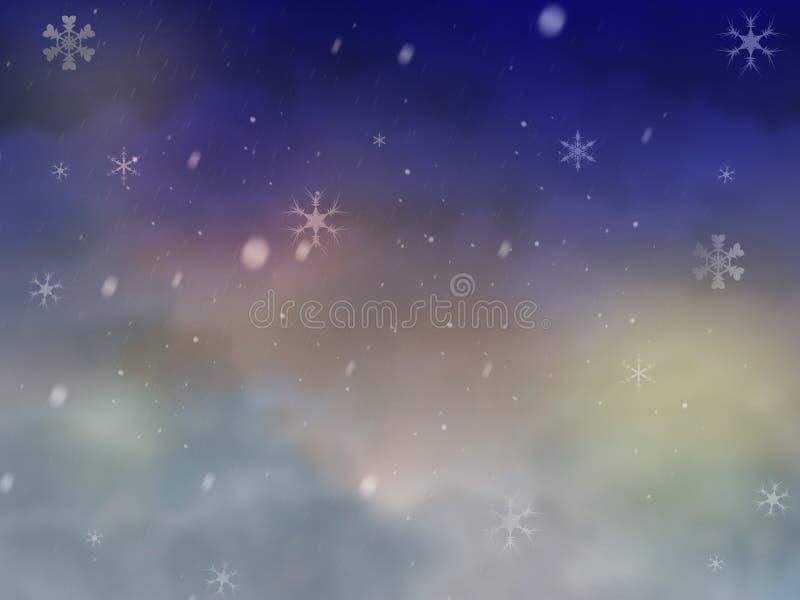 Winter night sky with snow stock photos