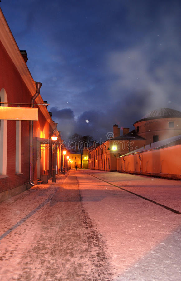 Winter night street stock photo