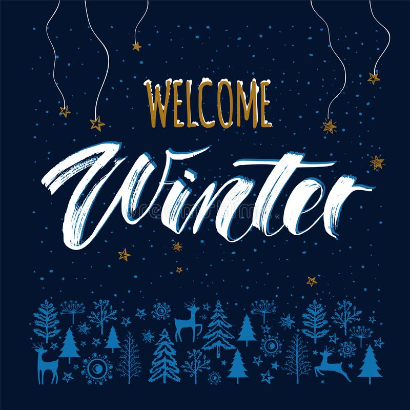 Winter Night template background with hand drawn lettering Welcome Winter royalty free illustration